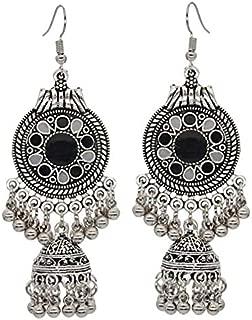 Gypsy Jewelry Retro Ethnic Silver Indian Jhumka Small Bells Oil Drop Tassel Earrings for Women Bohemian Party Gift (Style 5)