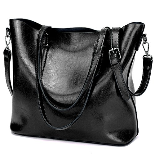 YALUXE Women's Leather Work Handbag Shoulder Bag (Upgraded 2.0) Black