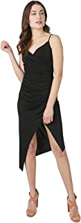 Bebe womens SURPLUS CAMI DRESS WITH - ASSYMETRIC HEM AND SIDE RUSCH Casual Dress