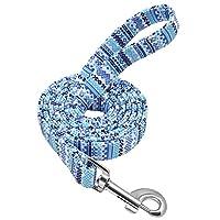 犬の鎖 太い犬の鎖ナイロンローププリント犬の猫の鎖ペットの鎖屋外ウォーキングトレーニングペット用品のロープ子犬のリード
