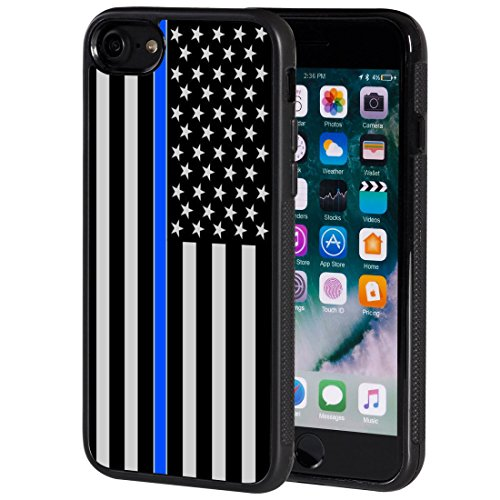 iPhone 8 Case,AIRWEE Slim Anti-Scratch Shockproof Silicone TPU Back Protective Cover Case for iPhone 8 4.7 Inch,Thin Blue Line US Flag Law Enforcement