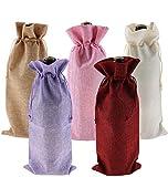 Bolsas de yute para botellas de vino con cordón, 10 unidades de 5 colores reutilizables, fundas para decoración de botellas para cata de vino a ciegas