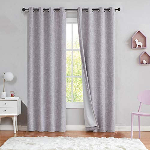 Lavender Solid Moderate Blackout Curtain Heavy Linen Texture Room Darkening Window Treatment for Bedroom Noise Reducing Drapes 8 Grommets Top for Living Room with Gray Liner, Purple 50' x 63', 1 Piece