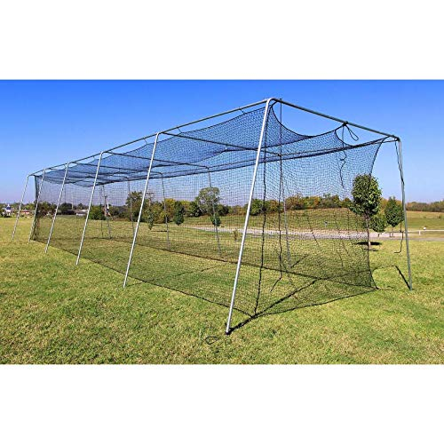Baseball Batting Cage Net 60x12x10 #24 Twisted Poly Hdpe w/ Door Opening