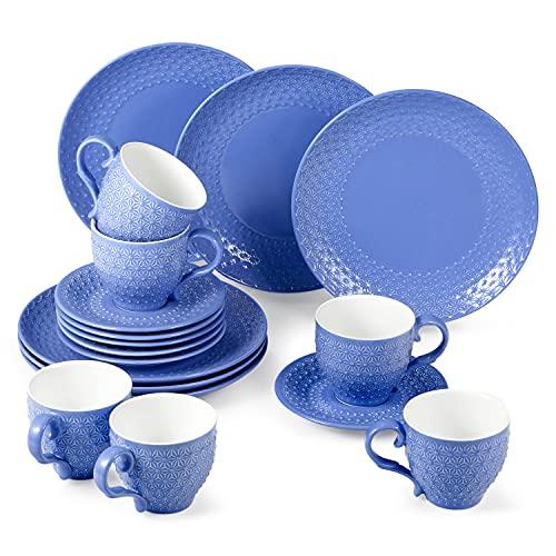 suntun Kaffeeservice 6 Personen, 18 teilig Porzellan Dunkel Blau Kaffeegeschirr Set mit je 6 Kuchenteller, 6 Kaffeetassen 195ml, 6 Untertasse, Schneeflocken Vintage Geschirrset