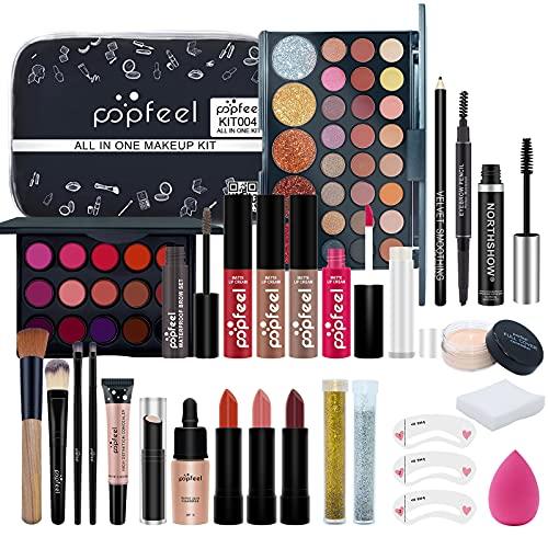 Makeup Kit for Women Full Kit, All-in-one Makeup Gift Set, Include Makeup Brush Set, Eyeshadow Palette, Lip Gloss Set, Lipstick, Blush, Foundation, Concealer, Mascara, Eyebrow Pencil