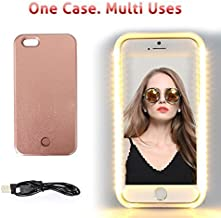 Walnut LED Lightning Selfie Phone Case, Fab for Selfies/Applying Make-Up/Flashlight/Videos/Facetime, Protects Phone & includes Charger For iPhone 6 Plus/6S Plus-Rose Gold