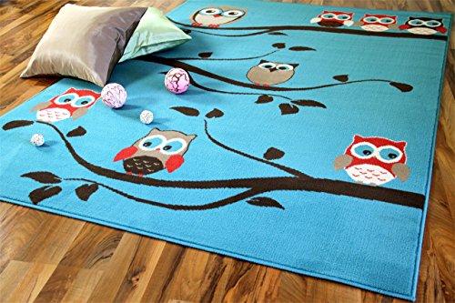 TrendLine Kinderteppich Eulen Türkis Grün Braun in 4 Größen