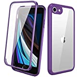 Diaclara iPhone SE 2020/iPhone 8 Case with Built-in Glass Screen Protector, Full-Body Protection Rugged Bumper Case, Anti-Scratch Slim Thin Case for iPhone SE 2nd Generation/iPhone 8 - Purple