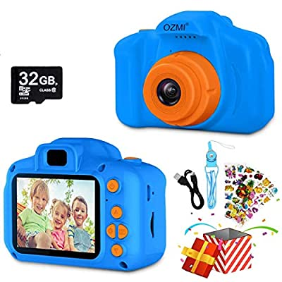 OZMI Upgrade Kids Selfie Camera, Best Birthday Gifts for Boys Age 3-12, Children Digital Cameras 1080P 2 Inch Toddler Video, Portable Toy for 3 4 5 6 7 8 9 10 Year Old Boy with 32GB SD Card (Orange)