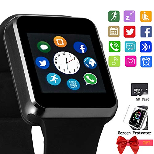 Bluetooth Smart Watch Touch Screen Unlocked Watch with Sim Card Slot Make Call and Message Sleep Tracker with Pedometer Camera Music Play for Android Phone Men Women Kids