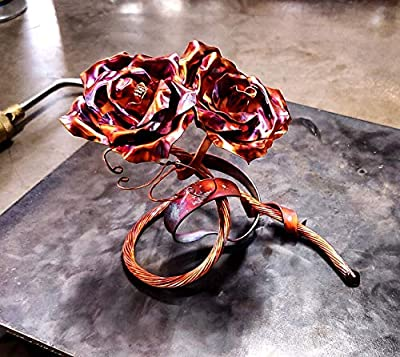 "Unique Copper Roses #1661""Us"" Steampunk Industrial Zen Wedding Housewarming Gift Anniversary regalo de aniversario Valentine's Mother's Day from"