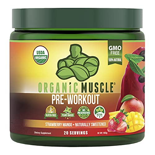 Organic Muscle Pre-Workout Powder - Certified USDA Organic & Vegan with Clean, All Natural Superfood Ingredients for Energy, Focus, Performance & Endurance - Strawberry Mango (20 Servings, 5.64 Oz)