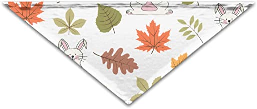 """Grebsw Autumn Seamless Pattern with Leaves and Rabbits 1 Soft Washable Pet Triangle, 11.8"""" 25.6"""", Suitable for Puppies, Kittens, Rabbits"""