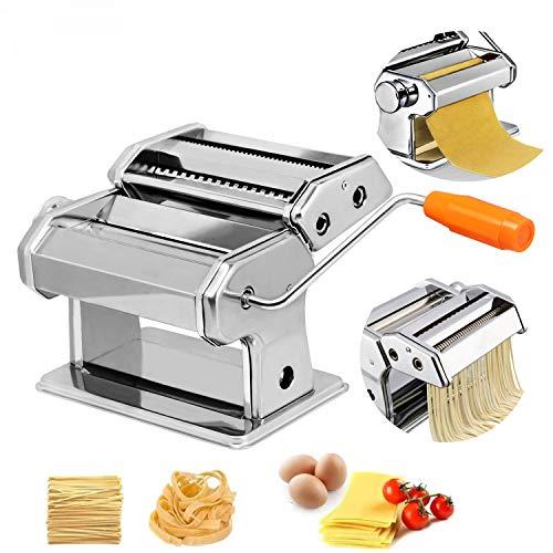 HENGMEI Nudelmaschine aus Edelstahl manuelle Pastamaker Pastamaschine mit 8 Verschiedene Teigdicken für frische Pasta