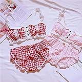 YINSHENG Nuevo Traje de Estilo japonés con celosía, Encaje Sexy Dulce, Ropa Interior de Hadas Femenina, Ropa Interior sin Costuras con Nudo de Lazo con Liguero, Atuendo Femenino Sexy, Pijamas