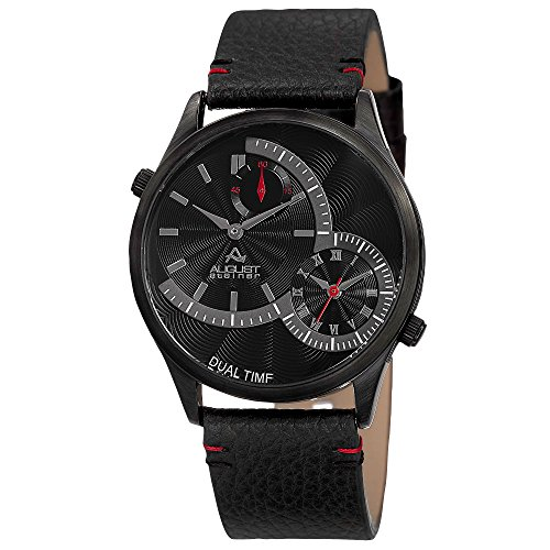 August Steiner Herren Analog Quarz Uhr mit Leder Armband AS8167BK_BlackwithRedStitching