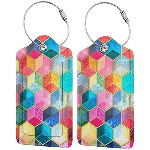 2 etiquetas de equipaje, etiquetas de cuero de la PU para equipaje con etiqueta de privacidad con lazo de acero inoxidable para bolsa de viaje, maleta, cubos de panal bohemio, colorido hexágono