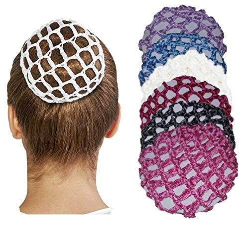 YouU Cheveux Snood Net,Crochet Perle À La Main Perle fleur Strass Coiffure De Couverture De Chignon Pour La Danse-Couleur Mixte (6 Couleurs)