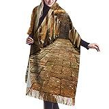 Bufanda de invierno clásica de otoño para mujer,Acción de Gracias Navidad filas de barriles de roble en bodega subterránea, bufanda cálida, suave y gruesa, manta grande, chal, bufandas