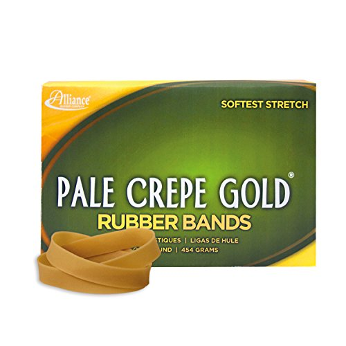 """Alliance Rubber 20845 Pale Crepe Gold Rubber Bands Size #84, 1 lb Box Contains Approx. 240 Bands (3 1/2"""" x 1/2"""", Golden Crepe)"""