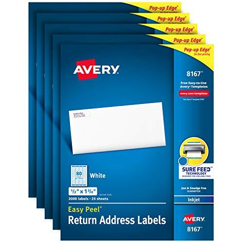 Avery Etiquetas de endereço com Sure Feed para impressoras a jato de tinta, 1,3 cm x 4,4 cm, 10.000 etiquetas, adesivo permanente (pacote com 5 8167), branco