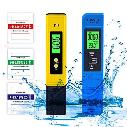 ZOYIDOUX Medidor PH,Medidor de ph Digital,Medidor TDS EC Temperatura,Medidor de Prueba de Calidad para Acuarios, Agua Potable, Jardín, Piscina