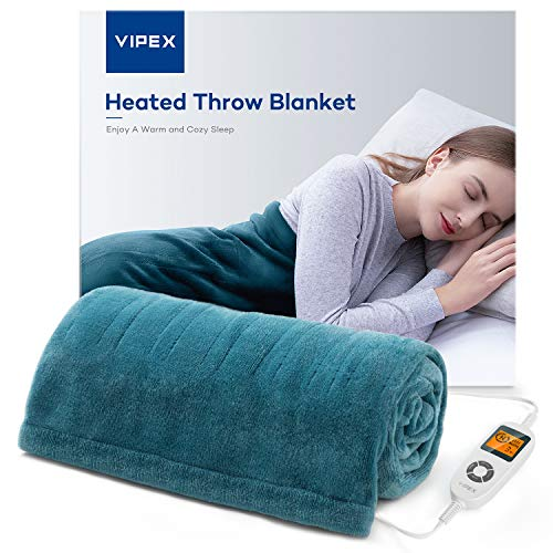 "VIPEX Electric Blanket Heated Throw, 50"" x 60"" Fast Heating Flannel Blanket with 10 Heating Levels & 3 Timer Settings Auto-Off, Travel Home Office Use, ETL Certified, Machine Washable, Forest Green"