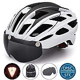 VICTGAOL Casco Bicicleta Helmet Bici Ciclismo para Adulto con Luz Trasera LED Visera Extraíble Hombres Mujeres Adultos de Bicicleta para Montar (Blanco)