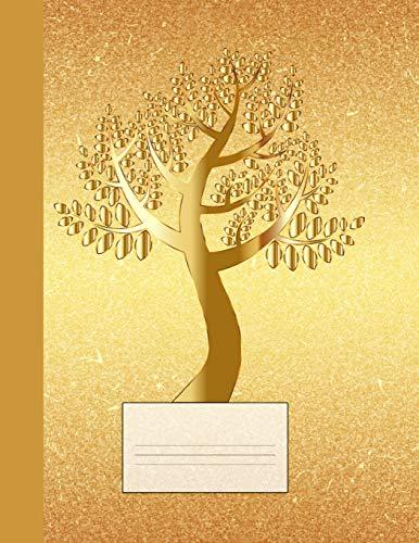 Notizbuch: Gold-Baum Schreibheft, Schulheft, Ideenbuch, Notizheft, klassisch kariert