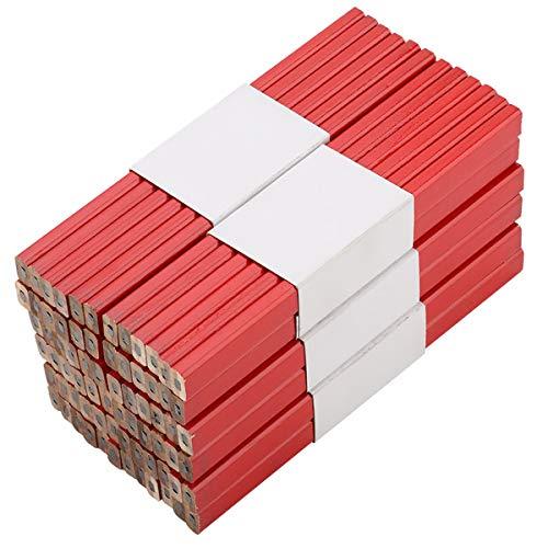 ROSEBEAR 72Pcs Lápiz de Carpintero de Madera Octagonal Rojo Duro Negro Plomo175mm Herramienta de Marcado de Carpintería Lápices de Carpintería Estándar