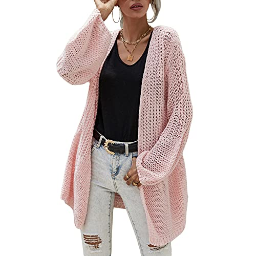 Cárdigan de punto casual para mujer, con frente abierto, grueso, ligero, de manga larga, de gran tamaño, rosa, M