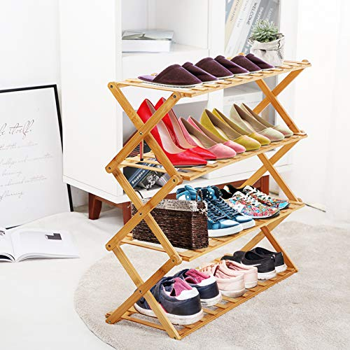 UDEAR Bamboo Shoe Rack,Foldable Free Standing Shoe Shelf Storage Organizer Multifunction,Free installation,Living Room,Bathroom,Aisle,27.6×11.02×16.14inches,3-Tier,Wood Color