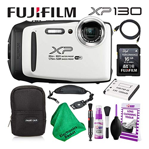 Fujifilm FinePix XP130 (600019827) Waterproof Digital Camera (White) Budget-Friendly Camera Accessory Bundle Includes Camera Cleaning Kit, Zippered Carrying Case, and Lots More