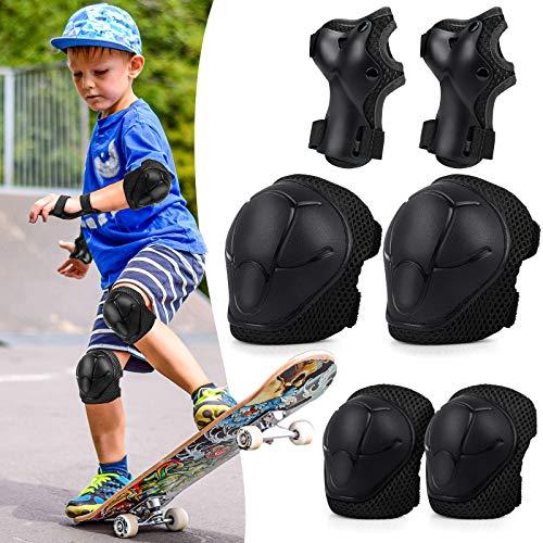 TOSHIHIKO Kinder Knieschoner Set 6 in 1, Protektoren Kinder, Schützer Protektoren-Schutzausrüstung Kinder Verstellbar Knieschützer Ellbogenschützer Set für Inliner Skateboard Radfahren Roller Skating