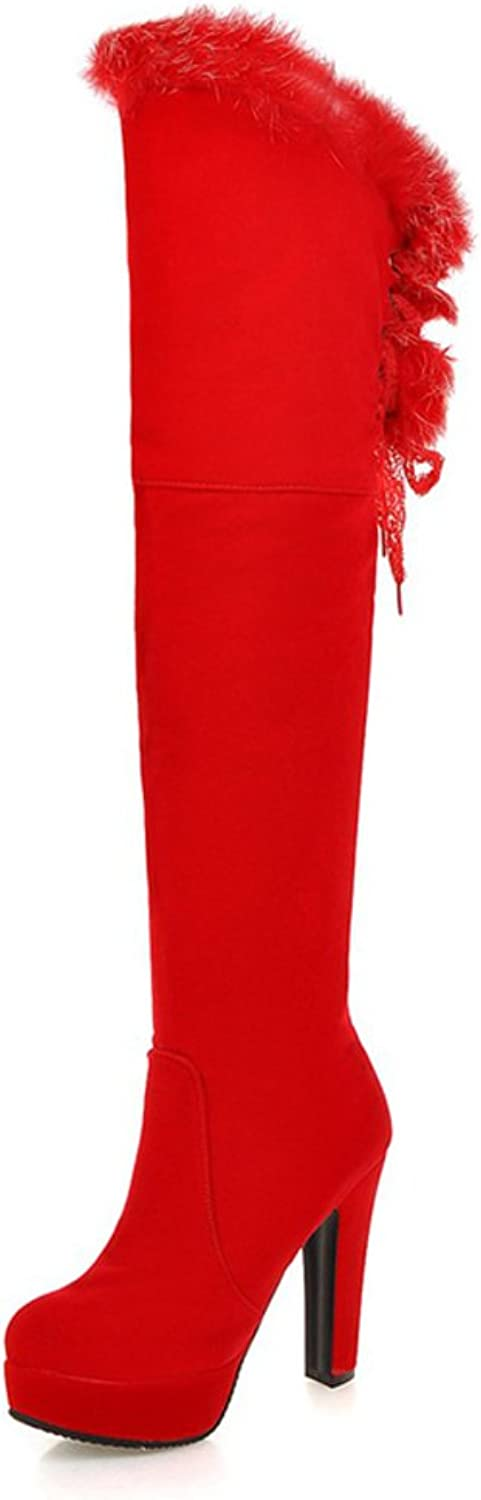 RHFDVGDS Europe and the thick-soled platform boots in autumn and winter Thick with super high heels and velvet thin leg boots ladies fashion over the knee boots