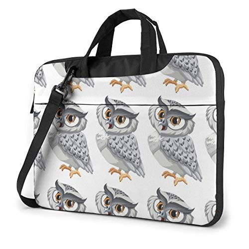 Silver Handsome Owl Adults Student 15.6 in Laptop Bag Anti-Collision Notebook Computer Protective Cover Handbag Shoulder Bag