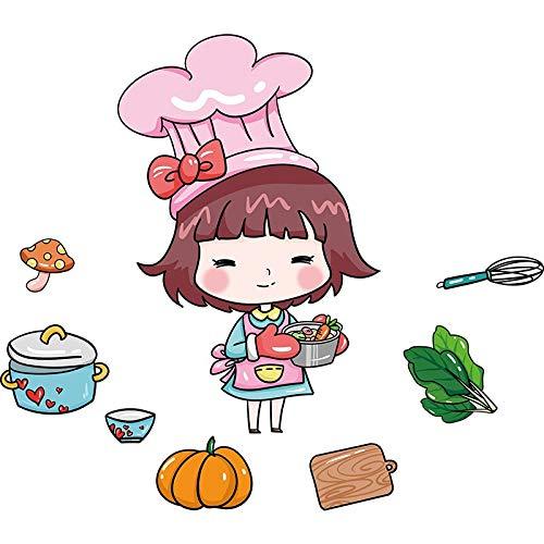 TAOYUE Mädchen Wandaufkleber Diy Lebensmittel Küche Utensilien Wandtattoos Für Kinderzimmer Baby Schlafzimmer Kinderzimmer Home Decoration