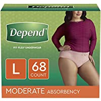 Depend FIT-FLEX Incontinence Underwear for Women, Moderate Absorbency,68 Count by Depend