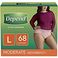 Depend FIT-FLEX Incontinence Underwear for Women, Disposable, Moderate Absorbency, L, Blush, 68 Count