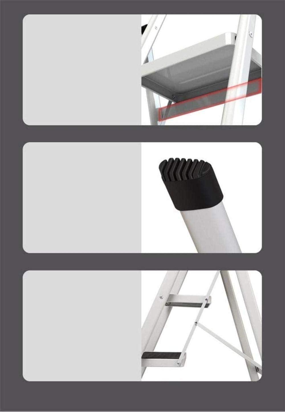Panier sale Escabeau Métal Ladder en Quatre étapes, intérieur à Sens Unique escabeaux ingénierie Ladder Tabouret chaises Pliantes (Color : Red) White