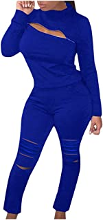 VEZAD Store 2 Piece Outfits for Women Long Sleeve Solid Zipper Front Hoodie + Pants Set Tracksuit