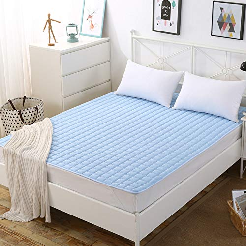 ZAIPP Fluffy Atmungsaktive Faltbare Matratze Topper,waschbar Pillow-top Matratzenbezug Pad Mit 4 Elastischen Bändern,zarten Gesteppter-himmelblau 100x200cm(39x79inch)