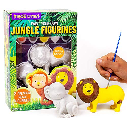 Made By Me Jungle Figurines 2 Resin Paintables by Horizon Group USA, Lion & Monkey,Acrylic Paints & Brush Included