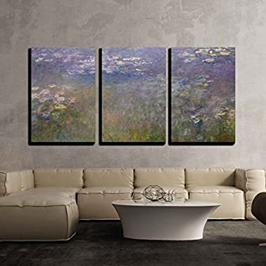 wall26 3 Piece Canvas Wall Art - Water Lilies by Claude Monet - Modern Home Decor Stretched and Framed Ready to Hang - 16 x24 x3 Panels