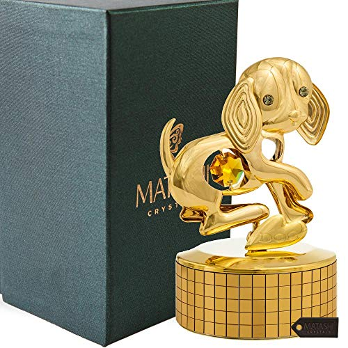 """Matashi 24K Gold Plated Puppy Dog Music Box Plays """"Memory"""" Gold Tabletop Ornament with Crystals Showpiece for Home Bedroom Living Room Decor Gift for Musician Christmas New Year Holiday Birthday"""