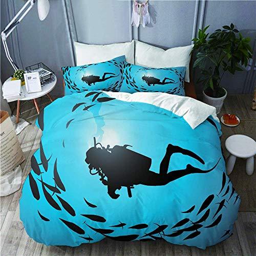 Juego de ropa de cama – Funda de edredón The Diver está rodeada de una jamba de peces, funda de edredón de microfibra de 200 x 200 cm con 2 fundas de almohada de 50 x 75 cm