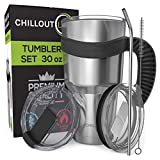 Stainless Steel Travel Mug with Handle 30 oz – 6 Piece Set. Tumbler with Handle, Straw, Cleaning Brush & 2 Lids. Double Wall Insulated Large Coffee Mug Bundle