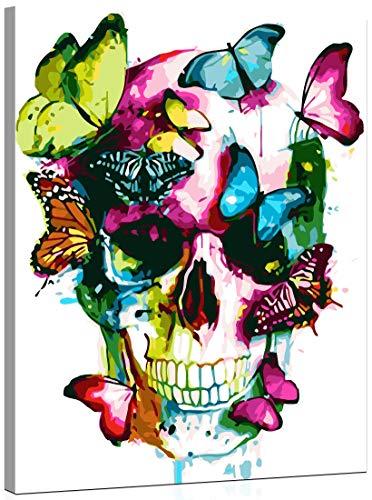 WISKALON Pintar por Numeros Kits 40 X 50 cm DIY pintura al óleo para Adultos y Niños DIY Pintura acrílica con lupa 3X, Pinceles y Pinturas - Mariposas y calavera de colores (con Marco de Madera)
