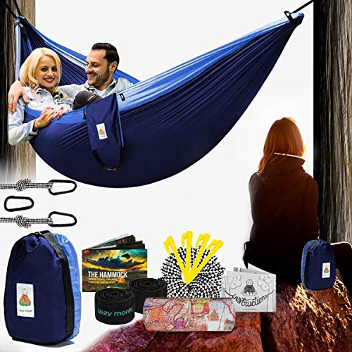 Lazy Monk 2 Person Hammock w/ Tree Straps   Portable Foldable Parachute Double Hamock Outdoor, Travel, Camping   Hamaca para dos   Complete Two People Couple Patio Backyard Outside Hanging Swing Amaca